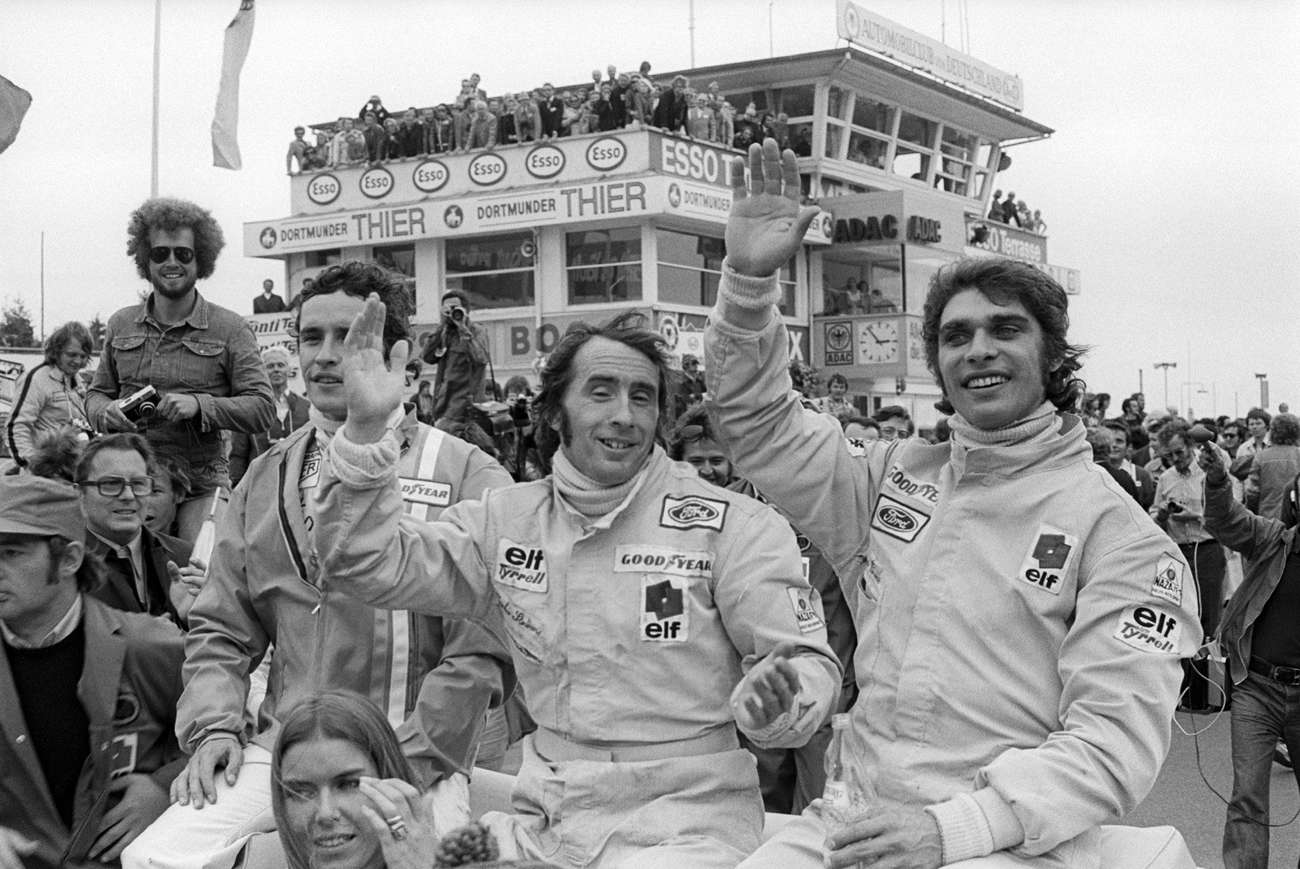 Stewart a týmový kolega Cevert, Nürburgring, 1973