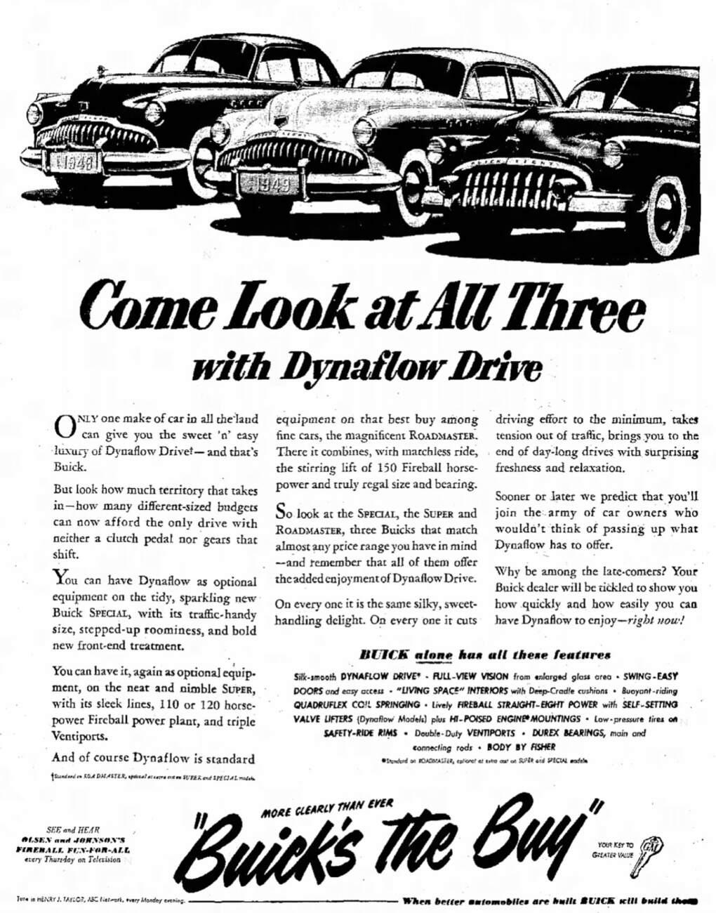 Buick advertisement in the Jefferson City Post-Trubune, Oct. 11, 1949, pg. 4.